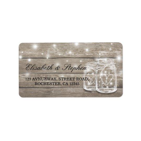 Rustic Wood Mason Jar String Light Wedding Address