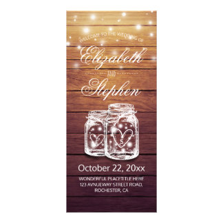 Rustic Wood Mason Jar String Light Wedding Program 10 Cm X 23 Cm Rack Card