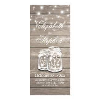 Rustic Wood Mason Jar String Light Wedding Program Full Color Rack Card