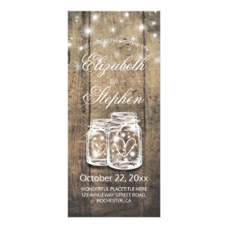 Rustic Wood Mason Jar String Light Wedding Program Rack Card
