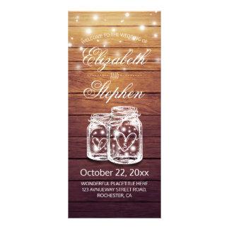 Rustic Wood Mason Jar String Light Wedding Program Rack Card