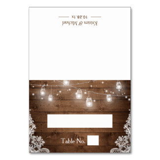 Rustic Wood Mason Jar String Lights Wedding Place Table Cards