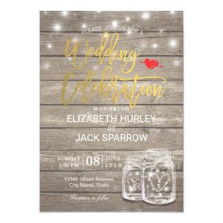Rustic Wood Mason Jar String Lights Wedding Shower Card