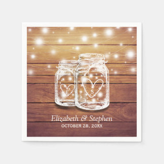 Rustic Wood Mason Jar String Lights Wedding Shower Disposable Serviette