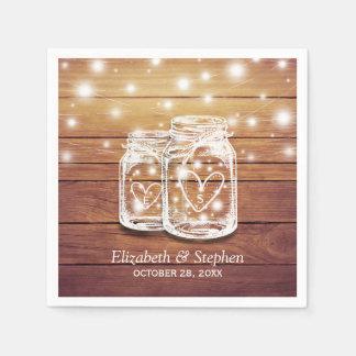 Rustic Wood Mason Jar String Lights Wedding Shower Paper Napkin