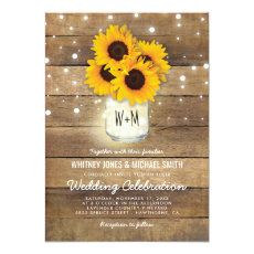 Rustic Wood Mason Jar Sunflowers Lights Wedding