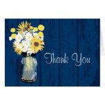 Rustic Wood Mason Jar Wildflowers Note Card