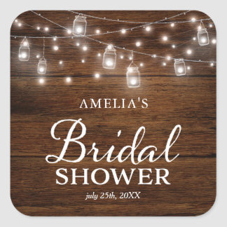 Rustic Wood Mason Jars and Lights Bridal Shower Square Sticker