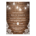 Rustic Wood Mason Jars String Lights Lace Wedding 13 Cm X 18 Cm Invitation Card