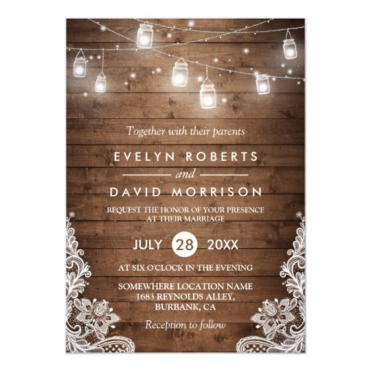 Wedding invitations announcements zazzle uk rustic wood mason jars string lights lace wedding card stopboris Images