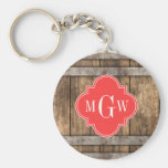 Rustic Wood Metal Band Coral Quatrefoil 3 Monogram
