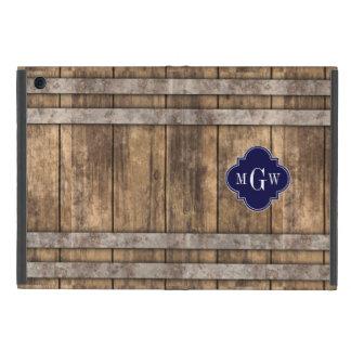 Rustic Wood Metal Band Navy Quatrefoil 3 Monogram Cover For iPad Mini