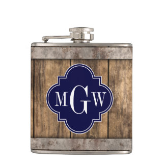 Rustic Wood Metal Band Navy Quatrefoil 3 Monogram Flasks
