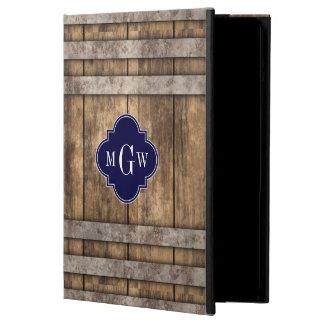 Rustic Wood Metal Band Navy Quatrefoil 3 Monogram iPad Air Cover