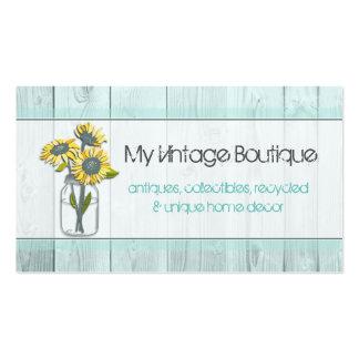 Rustic Wood Mint/Mason Jar Business Card