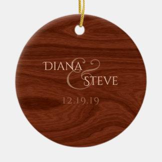 Rustic Wood Monogram Country Wedding Date Keepsake Christmas Ornament
