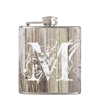 Rustic Wood Monogrammed Vinyl Wrapped Flask