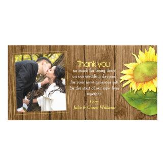 Rustic Wood n Sunflower Wedding Photo Thank You Card