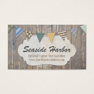 Rustic Wood Nautical Bunting - Seaside Harbor Business Card