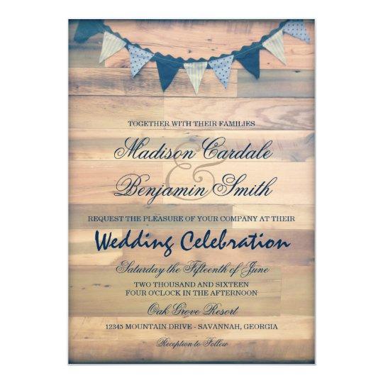 Rustic Wood Navy Bunting Banner Wedding Invites