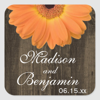Rustic Wood Orange Daisy Wedding Favor Stickers