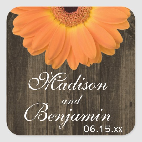 Rustic Wood Orange Daisy Wedding Favour Stickers