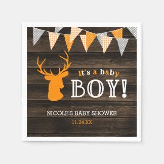 Rustic Wood Orange Deer Boy Baby Shower Disposable Napkins