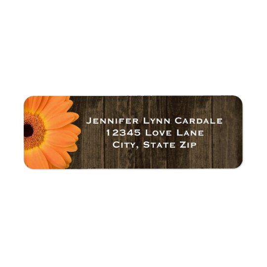 Rustic Wood Orange Gerber Daisy Address Labels