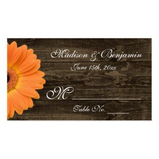 Rustic Wood Orange Gerber Daisy Wedding Place Card Business Cards