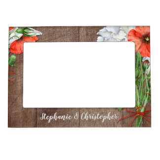 Rustic Wood Orange Poppies Wedding Magnetic Picture Frame
