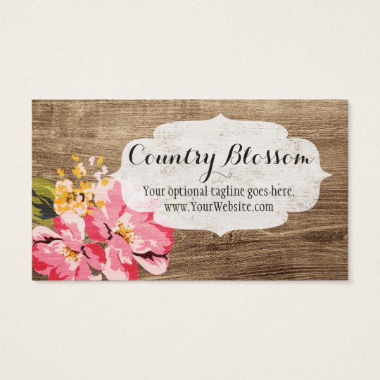 Rustic Wood, Painted Pink Flower - Country Blossom