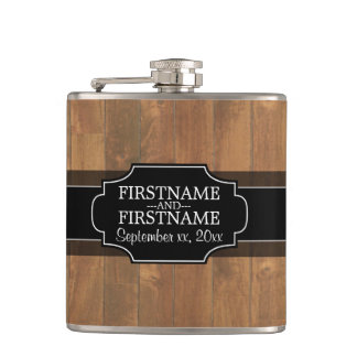 Rustic Wood Pattern Wedding Favor Hip Flask