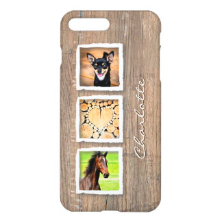 Rustic Wood Photo Collage Custom iPhone 7 Plus Case