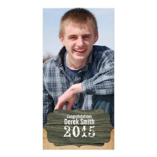 Rustic Wood Photo Graduation Announcement Picture Card