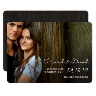 Rustic Wood Photo Save the Date Card