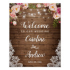 Rustic Wood Pink Floral String Lights Wedding Sign