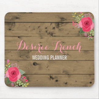 Rustic Wood Pink Floral Wreath  | Monogrammed Mouse Mat