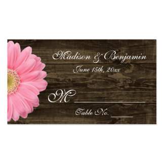 Rustic Wood Pink Gerber Daisy Wedding Place Cards Business Card Template