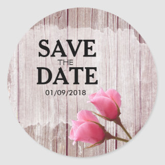 Rustic Wood Pink Rosebud Wedding Save The Date Round Sticker