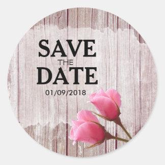 Rustic Wood Pink Rosebud Wedding Save The Date Round Sticker