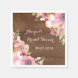 Rustic Wood Pink Watercolor Bridal Shower Napkins Paper Napkins