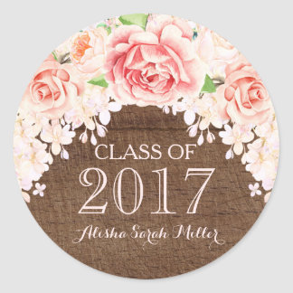 Rustic Wood Pink Watercolor Flower Graduation 2017 Round Sticker