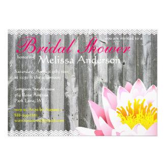 Rustic Wood Planks & Lotus Flower Bridal Shower Personalized Invitation