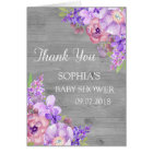 Rustic Wood Purple Floral Baby Shower Thank You Card