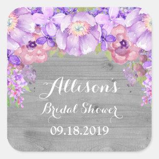 Rustic Wood Purple Floral Bridal Shower Favor Tag Square Sticker