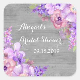 Rustic Wood Purple Floral Bridal Shower Tag Square Sticker