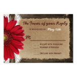 """Rustic Wood Red Daisy Country Wedding RSVP Cards 3.5"""" X 5"""" Invitation Card"""