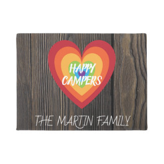 Rustic Wood Retro Rainbow Heart | Happy Campers Doormat