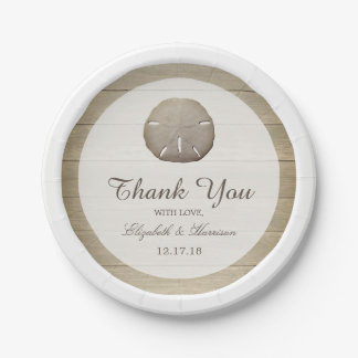 Rustic Wood Sand Dollar Wedding 7 Inch Paper Plate
