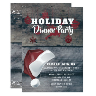 Rustic Wood Santa Holiday Dinner Party Invitation